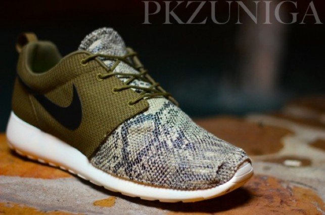 "c967230d9d4d ... Nike Roshe Run ""Snakeskin"" Custom by PK Zuniga Toe ..."
