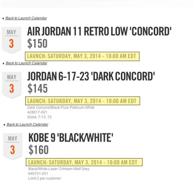 New Launch Times for Nike.com